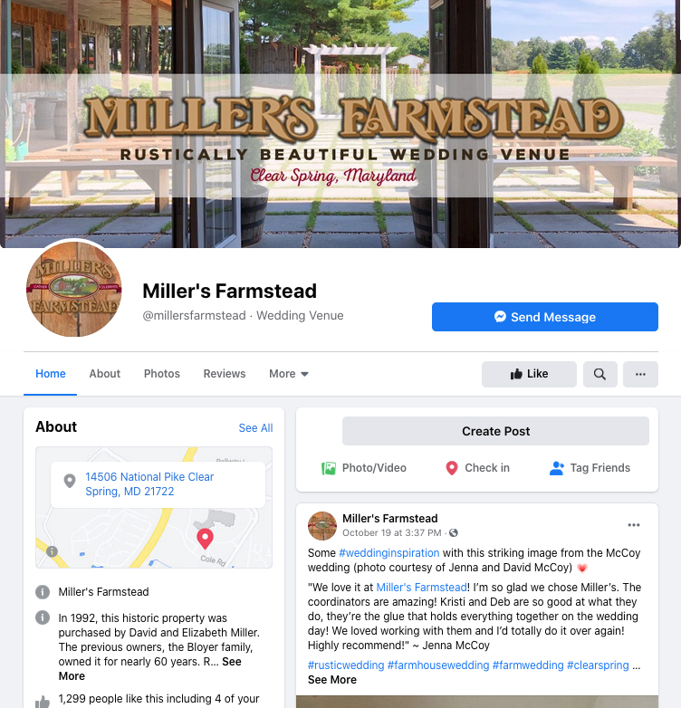 Miller's Farmstead Facebook