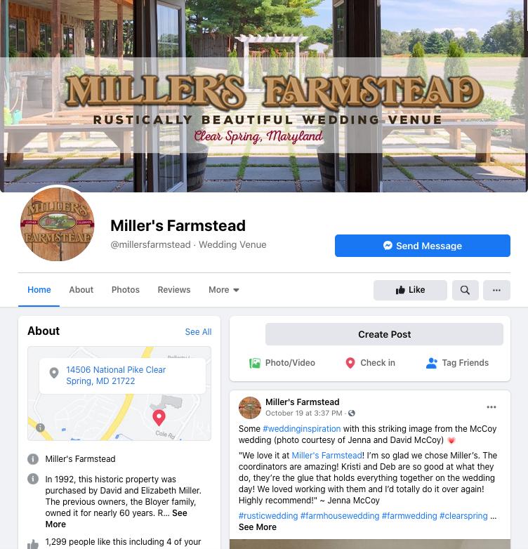 Miller's Farmstead Facebook